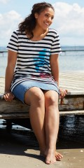 Handberg - Tunica with short sleeves in a-shaped and with smart stripes and print