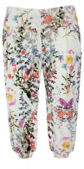 Handberg - Harem pants with flowers print and smock rubber band in the back and legs