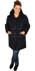 Handberg - Luksus ull jakke med hette og flotte lær rute påsydd i forstykket