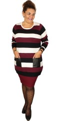 Zhenzi - Knit blouse with 2 leather look pockets in nice stripes