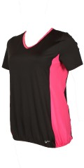 Studio - Fitness bluse med v-hals og elastik afslutning forneden
