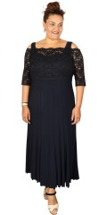 Kirsten Krog Design - Elegant long dress with width straps and with loose lace top