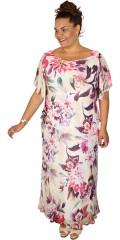 Kirsten Krog Design - Elegant lang Seide Kleid mit klein smart Ärmel mit Verschleiss und Schicht auf Schicht in oberen Teil