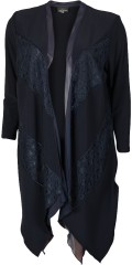 Kirsten Krog Design - Nice cardigan with inserted lace in front piece and with asymmetric length