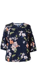 Cassiopeia - Lean blouse with flowers print, 3/4 sleeves and contrast
