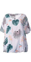 Studio - Tunika/t-shirt oversize med v-hals og i super flott trykk samt ribbe kant nederst