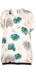 Studio - Tunika / t-shirt oversize med v-hals og i super flot print samt rib kant forneden