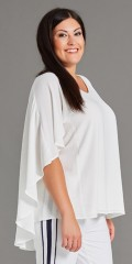 Studio - Blouse in light crep with hard sewn cape over back and sleeves