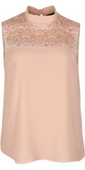 Zoey - Top in light translucent material with sweet lace support piece and china collar