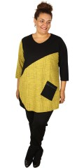 Handberg - Tunica with 3/4 sleeves in stylish jacquard combined with  rib