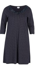 Zizzi - Nightgown with dots and nice lace edge in neck and sleeves