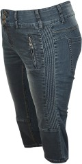 Adia - Jeans rome pirate denim with super stretch and high band with 3 buttons also inside adjustable rubber band