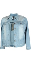 Adia Fashion - Klassisk denim jacka med streck och super passform