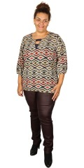 One More - Printed blouse with 3/4 sleeves