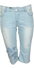 Adia Fashion - Curvy fashion jeans lucca stumpebukser med superstrekk i smart llys vask med variabel strikk i taljen