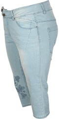 Adia Fashion - Curvy fashion jeans lucca stumpebukser med superstretch i smart lys wash med regulerbar elastik i taljen