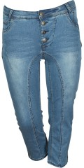 Adia Fashion - Curvy fashion jeans pisa stumpebukser med super strekk og variabel strikk i taljen. lukkes med knapper