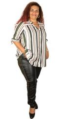 Adia - Schätzung durchgeknöpft Hemd in fest Stoff mit 3/4 Ärmeln