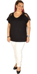 Adia Fashion - Smart strechy t-shirt with braided straps over the shoulders
