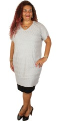 Adia - Knit tunica/dress with short sleeves and v cutting