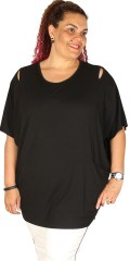 Q´neel - Strechy blouse in quality viscose with short wing sleeve in oversize model with look to the shoulder