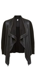Que - Open cardigan with leather look and raw zipper seams front and asymmetric lengths