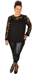 Zoey - Stylish blouse with lace stay and lace sleeves