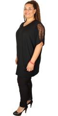 Studio - Tunika kjole med kort vingeærme i strechy materiale