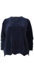 Cassiopeia - Athena strikk genser i bløt chenille og ender med ribbe tunge kant