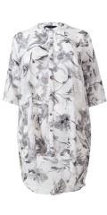 Cassiopeia - Falka lang chiffon skjorte med flot snit og 3/4 ærmer