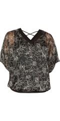 Zhenzi - Chiffon genser med hard sydd topp og flott v-hals og detalje i ryggen