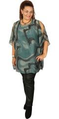 Zhenzi - Tunika in hübsch Übergröße chiffon mit druck und fest genäht top