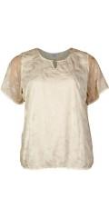 Zhenzi - Bluse med sølv print og korte ærmer samt fast syet foer