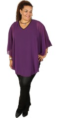 Studio - Purple tunica with v cutting and hard sewn single-coloured cape