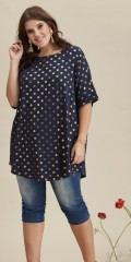 Zhenzi - Oversize tunica with short sleeves and round neck and gold dots