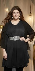 Tunica/dress with hard sewn slip and chiffon sleeves and v cutting