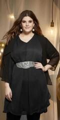 Zhenzi - Tunika/kjole med hard sydd underkjole og chiffon ermer og v-hals