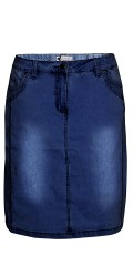 Zhenzi - Classic denim skirt with stretch and wash effect also sewed-in god pants