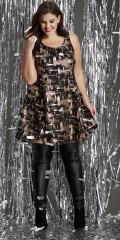Zhenzi - Tunica/pinafore dress with mica and shiny threads in a-shaped