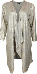 Handberg - Long silver coloured cardigan with fold-over effect