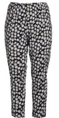 Gozzip - Leggings 7/8 with daisies and rubber band in whole the waist
