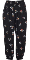 Gozzip - Loose pants with small dots behind flowers also 2 pockets