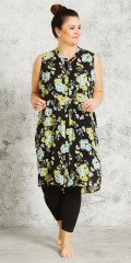 Gozzip - Genom knappad skjorta klänning i super vacker blommor tryck