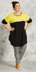Gozzip - Tunica with short sleeves and round neck also nice yellow cotton piece at the top