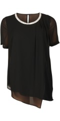 Kirsten Krog Design - Chiffon layer on layer tunica with nice silver neck and short sleeves