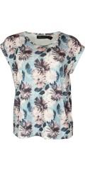 Cassiopeia - Anella t-shirt med rund hals och kort ärmar och vacker blomstrad tryck