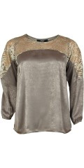 Zoey - Smart long-sleeve blouse in hard fabric with lace support piece