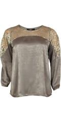 Zoey - Smart langermet genser i hard stoff med blonder