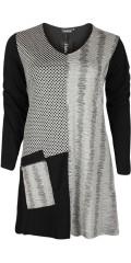 Handberg - Tunika mit V-Hals und in hübsch retro Muster sowie Reissverschluss Tasche vorne
