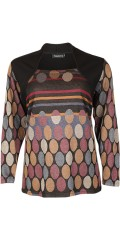 Handberg - Blouse with smart neck and stylish soft print with bombs
